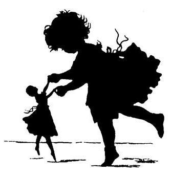 """Предпросмотр схемы вышивки  """"Девочка,танцующая с куклой """"."""