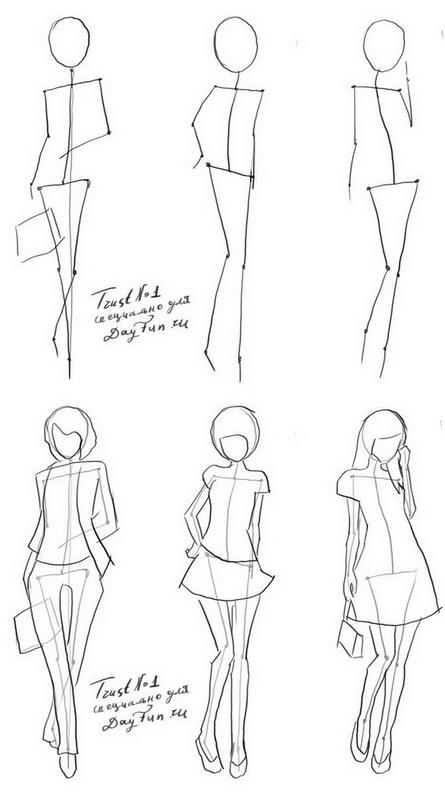 Как нарисовать фигуру человека поэтапно. Современный пример.