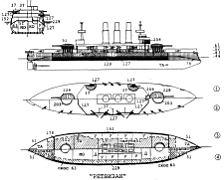 """Эскадренный броненосец  """"Ретвизан """", схема бронирования с указанием толщины брони, графика С. Сулиги."""
