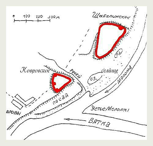 Схема городищ в устье Моломы.