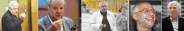 Слева направо: академик Ю.С. Пивоваров, А.С. Ципко, Г.О. Павловский, а также Н.К. Сванидзе и Л.М. Млечин.  [фотомонтаж фото из Интернета]