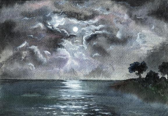 Лунная дорожка пейзаж акварель