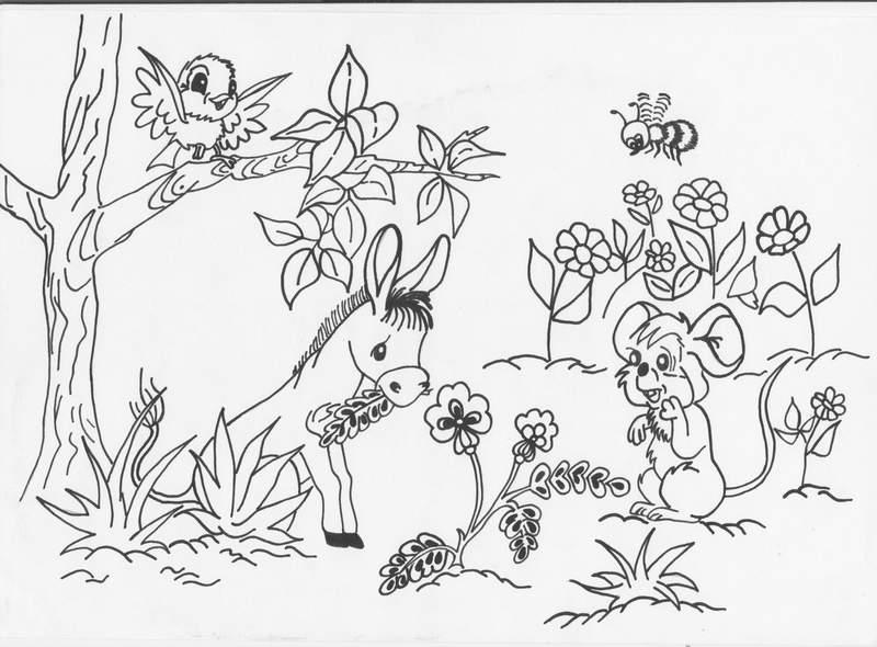 Раскраска полянки
