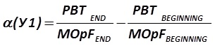 The indicator α (У1) is calculated by the formula  [Alexander Shemetev]