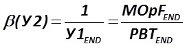 The indicator β (У2) is calculated by the formula  [Alexander Shemetev]
