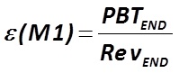 The indicator ε (М1) is calculated by the formula  [Alexander Shemetev]