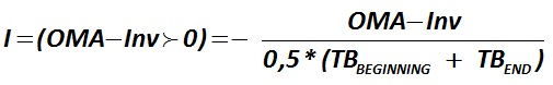 The indicator I (OMA–Inv) is calculated by the formula  [Alexander Shemetev]