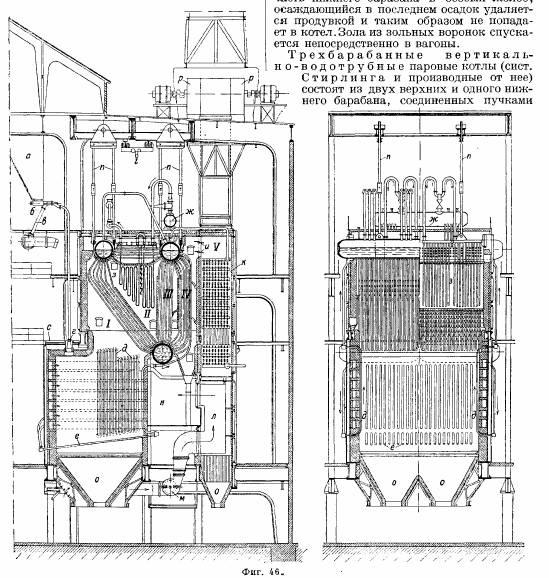 46). Трехбарабанные паровые котлы с одним верхним и двумя нижними барабанами с изогнутыми трубками (системы...