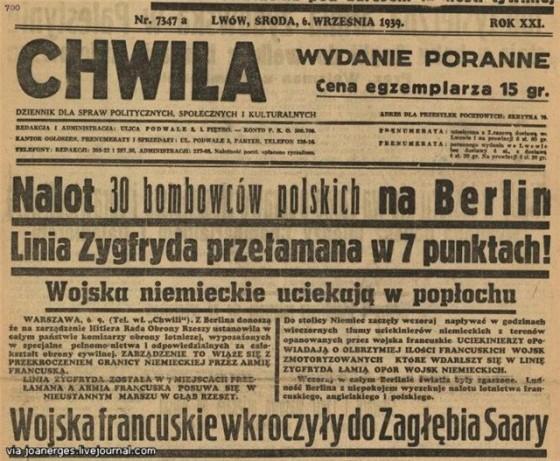 """Львовская газета """"Chwila"""" от 6 сентября 1939 года, сообщаетчитателям об успехе польской авиации, совершившей налет на Берлин."""