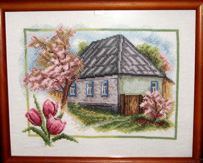 домик в деревне вышивка