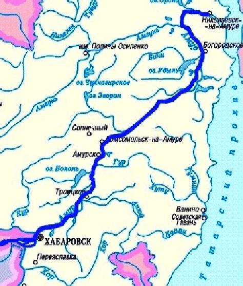 Современная схема-карта реки Амуру в среднем и нижнем течении.
